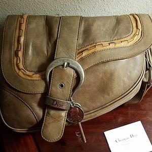Christian Dior olive brown Gaucho Saddle bag